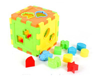 Wholesale plastic cube toy Cognitive building blocks toy box
