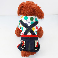 Cheap Small Puppy Pet Dog Chihuahua Cowboy Cozy Jeans Denim Clothes Clothing T-shirt Polka Dotted Jumpsuit Four Legs Costume Jacket Coat Suit