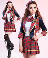 Pattern Suits high school uniforms - Cheap Hot High Quality School Uniforms Cheerleaders Costumes Brand New Sexy Body Suits For Women