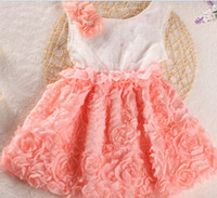 Wholesale Kids Summer Dress Pageant Children Girls Clothing Chiffon Rose Pearl Flower Sleeveless Kid Girl s Party Dress For Baby Girl Clothes C1831