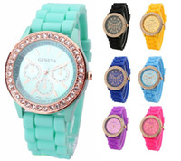 Wholesale 50pcs New Geneva Diamond watch rose stone with eyes face rubber silicone jelly wrist watches