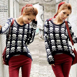 Wholesale New Korean Fashion Vintage Skull Long Sleeve Women Pullover Sweaters Plus Size Loose Women Knitted Tops Blouses NS002