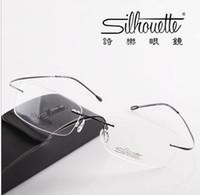 Unisex eyeglasses frames - Brand Silhouette rimless optical glasses frames ultra light titanium rimless eyeglasses frame myopia frame go with the case