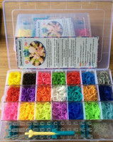 Silicone   Rainbow loom kit clear plastic box for Kids DIY bracelets with 4200ps rubber bands, 100 clips, 1 hook 100pcs