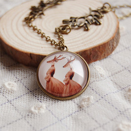 Novelty Lady Deer Necklace Unique Design Long Necklace Vintage Handmade Jewelry xl013