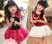 Princess Girls Rose Flower Sleeveless Lace Tutu Dress Childr...