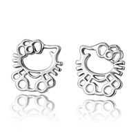 sterling silver earrings - Aivni hollow out kitty sterling silver earrings Professional silver jewelry sales Eay1106