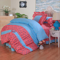 Adult Twill 100% Cotton Bedspread style Korean bedding set cotton cute princess bedding sheet Reactive printing bed cover bed set duvet quilt cover bedclothes