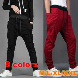 Wholesale New Arrival Men Baggy Pant Trousers With Big Pockets Cargo Pant Draw Cord Waist Harem Pants Autumn Outdoor Sport Pant AW0701