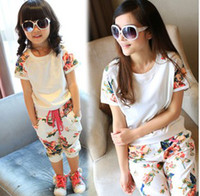 Wholesale 2014 New Fashion Flowers Printed Short Sleeve Shirt Haren Pants White Grey Family Suits Mon Daughter Lovely Clothing Sets B3368