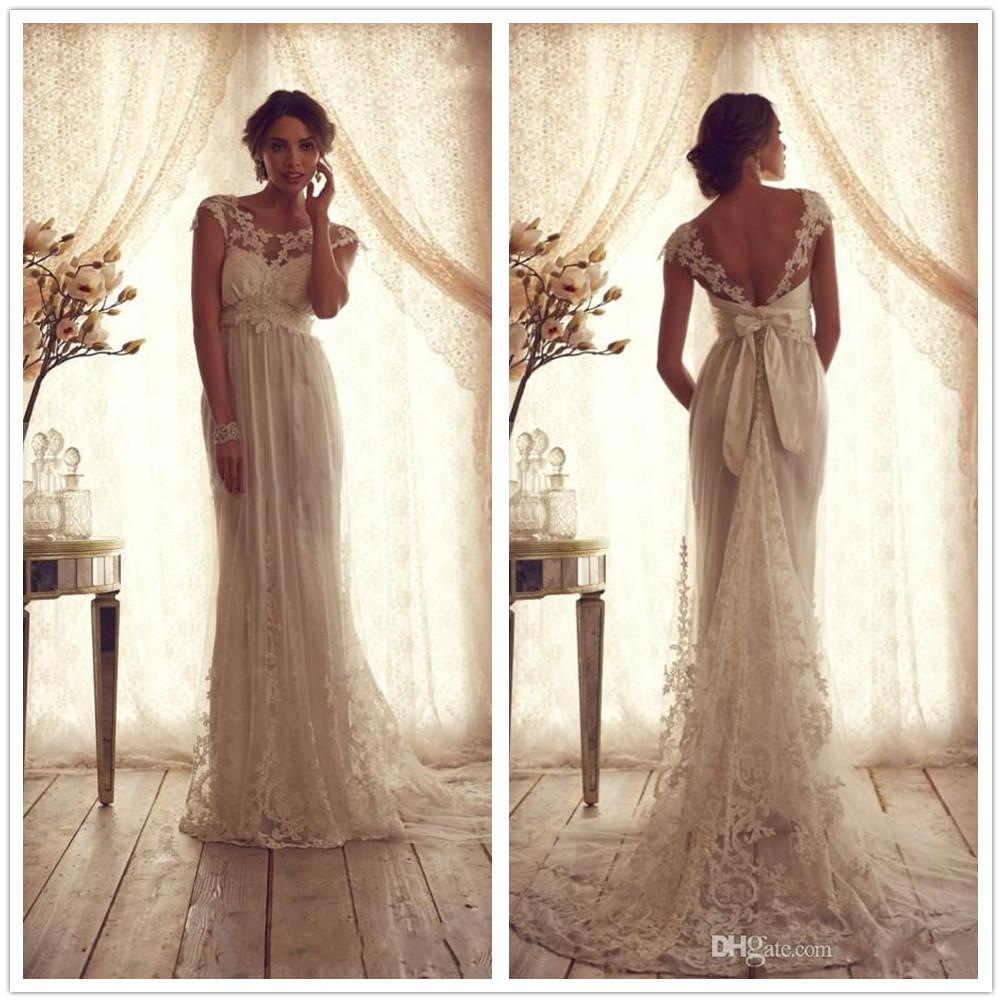 2014 Winter Vintage Lace Wedding Dresses for Pregnant Women Backless ...