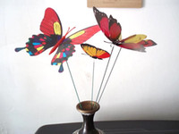 Wholesale 50Pcs at least Patterns cm Mixed Size Fake Artificial Butterfly on Spring Stick Garden Stake decoration Wedding Cake Topper Decal