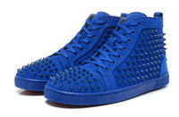 Wholesale New men s red bottom shoes blue matter leather with blue rivets designer women causal lace up flat high top sports shoes couple flats