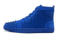 mens designer shoes - New arrival mens womens matter leather with Spike Studded high top sneakers designer causal flat sports shoes