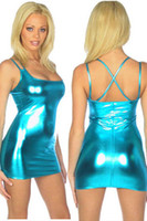 Wholesale 5pcs Blue Metallic Cross Over Spaghetti Strappy Lady Fashion Sexy Clubwear Mini Dress Party Dress Bodycon Dress