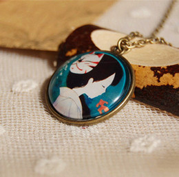 Japanese Anime Beauty with a Mask Necklace for Girls Cameo Glass Necklace for Best Friends Copper Necklace xl096