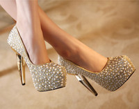 Wedding Heels High Heel Wholesale - Free Shipping 2014 High Heels Hand Design Top Golden Sliver Diamond Crystal Evening Prom Party Dresses Lady Bridal Wedding Shoes