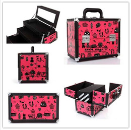 Wholesale 1X Novel Hand held Lockable Cosmetics Makeup Train Case for Professional and Home Use K1744