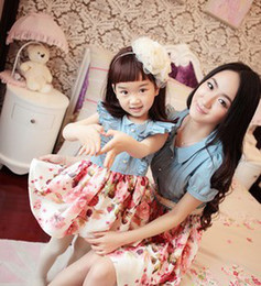 Wholesale 2014 Children Girls Daughter Mom Flowers Printed Short Sleeve Denim Patched Dresses New Family Clothing Dresses B3370