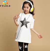 Wholesale Girls Clothing Sets Teenage Girl Clothes Fashion Set Off Shoulder Hooded Sparking Star Pentagram Pattern Tracksuit Girl s Sport Suits C1836