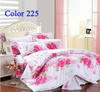 Adult Plaid VELOUR White Home Textiles Bed set magnificent Red rose Flowers king queen full size Brand Bedding sets 4pcs Diamond velvet bed linen Bedding