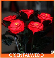 Wholesale with battery red rose light with leaf LED rose night light Valentine s Day Gift wedding rose light