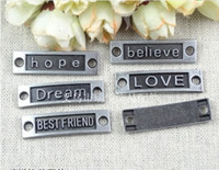 Traditional Charm word charms - A2331 MM tin hope believe Dream LOVE BEST FRIEND achieve blessing Freedom word charms connector message pendants charms with words