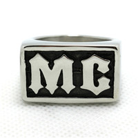 Wholesale Mens Boys L Stainless Steel Cool Silver Biker Motorcycle MC Newest Ring Factory Price