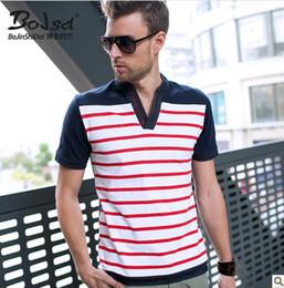 Wholesale summer men s POLO shirt v collar stripes short sleeved shirt