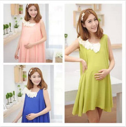 Wholesale Maternity summer new Korean pregnant women dress sleeveless chiffon dress tidal mother a generation of fat