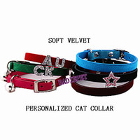Wholesale New Arrival Personalized DIY Charms Cat Collars Soft Velvet with Elastic Safety Belt Cat Pet Collars Price exclude the slide charm