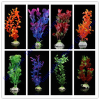 Wholesale Random Mix Colors Artificial Plastic Water Plants for Fish Tank Ornament SZ109