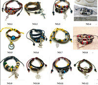 Wholesale Colored beads Leather alloy Charm Bracelet Jewelry Punk Leather Charm Bracelet mix order