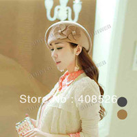 Wholesale autumn and winter New Lady s Women Style Top Wool Hat Double Flowers Beret Caps Colors