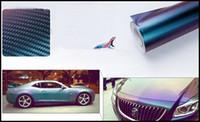 Wholesale 11 quot x60 quot FTx5FT Chameleon D Carbon Fiber Vinyl Film Wrap Color Changing Car Sticker with Air Drains