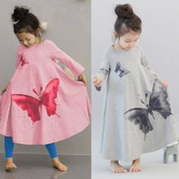 TuTu batik beach dresses - 2016 New Fashion Ink Wash Butterfly Washing Printing Long Sleeve Wide Hemline Vintage Bohemia Girls Bow Dress Kids Beach Dresses