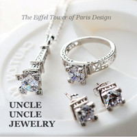 jewelry paris - The Eiffel Tower of Paris Design K White Gold Plated Zircon Champs Elysees Kiss Jewelry Set Necklace Earrings Ring