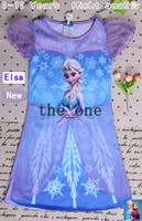 Wholesale Hot sale children dress Anna Elsa Frozen princess short sleeve dress summer party dress beach dress EMS FREE