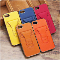 Wholesale Unique Pocket Skin Case for iPhone S Real Leather PC Back Shell with Card Slot Holder Dustproof Front Frame Cover Free DHL
