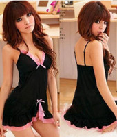 Wholesale Details about Womens Sexy Black Pink Frilly Babydoll Baby Doll Chemise Lingerie Nightie