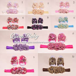 Wholesale Trial Order Baby Barefoot Sandals with Floral Print Chiffon Flower Matching Headband set QueenBaby