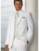 Wholesale Two Buttons White Groom Tuxedos Peak Lapel Best Man Suits Groomsmen Men Wedding Suits Jacket Pants Vest Tie NO