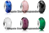 Wholesale 6pcs Sterling Silver Screw Fascinating Faceted Murano Glass Beads Fit Pandora Jewelry Charm Bracelets amp Necklaces