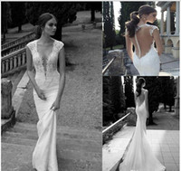 A-Line Reference Images V-Neck New Berta Winter 2014 Lace Sheer Wedding Dresses Deep V Neck Illusion Back Covered Button Mermaid Court Train Wedding Bridal Dresses Gowns