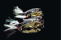 Wholesale 10 batch fishing lure metal fish sequins VIB spoon blade bait lure sea fishing tackle treble feature hook g cm
