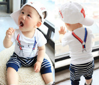 Summer baby clothes wholesale - 2014 Summer Year Small Baby Clothing Set Fake Strape T Shirt Stripe Harem Pants Baby s Boy Set Kids Suit Wear GX87