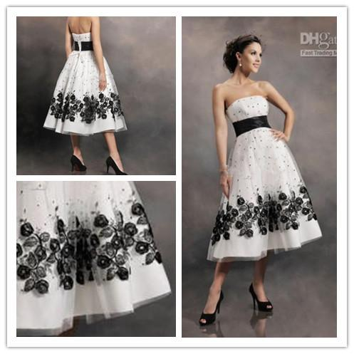 Discount black and white tea length wedding dress bridal for Black tea length wedding dress