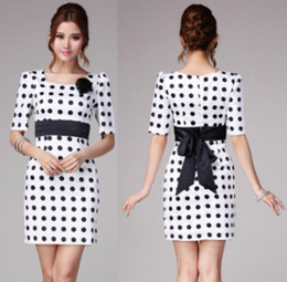 Wholesale Polka Dots Print Half Sleeve Dress Round Neck Pullover Dress Lady Bodycon A Line Dress Formal Work Dress Women Party Dress HY0869