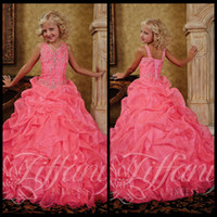 Model Pictures Girl Crystal 2014 Pink Ball Gown Flower Princess Glitz Little Girls Pageant Dresses Crystal Beaded Organza Floor Length Sleeveless V Neck Gowns