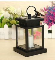 Wholesale Solar Powered Candle Lantern Mediterranean branches bird house color glass iron lantern